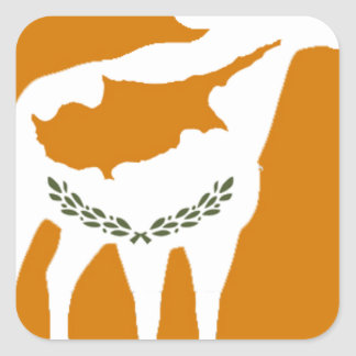 CYPRUS NATIONAL RAM SQUARE STICKER