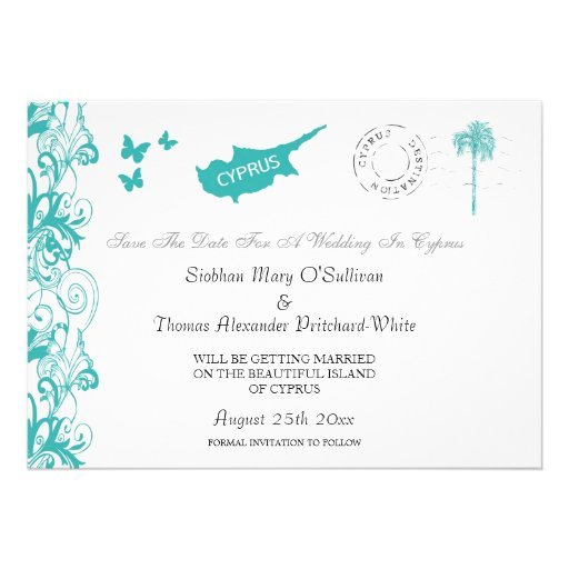Cyprus Save The Date In Aqua And White Personalized Invitation