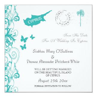 Cyprus Save The Date In White And Aqua 13 Cm X 13 Cm Square Invitation Card