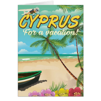 Cyprus vintage beach travel poster card