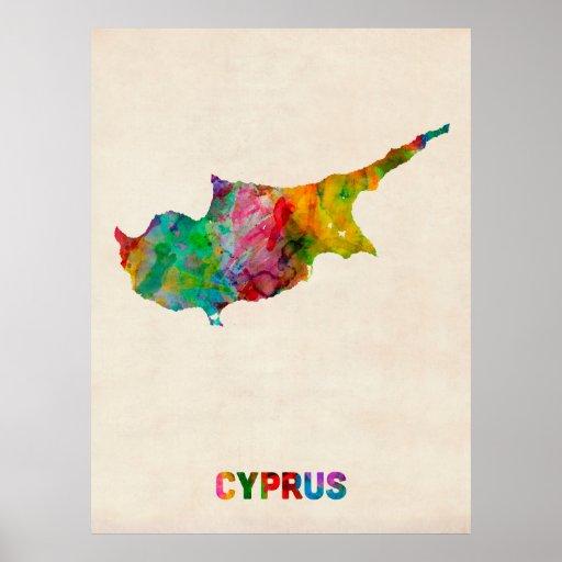 Cyprus Watercolor Map Poster