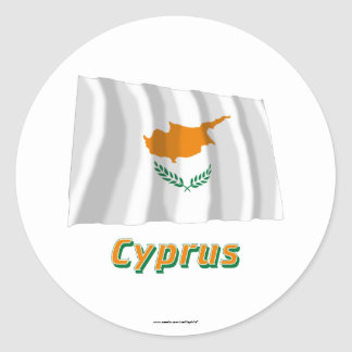 Cyprus Waving Flag with Name Classic Round Sticker