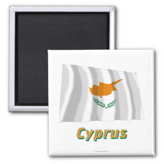 Cyprus Waving Flag with Name Square Magnet