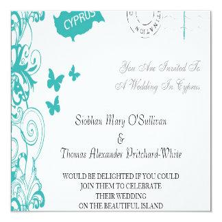 Cyprus Wedding Invitation In White And Aqua