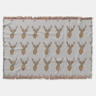 Cyril the Stag Grey Blanket Throw by Anna Bush