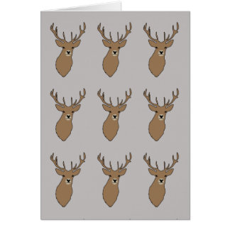 Cyril the Stag Grey Greetings Card by Anna Bush