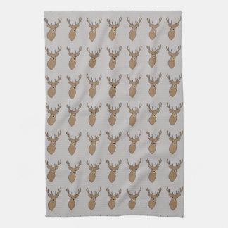 Cyril the Stag Grey Tea Towel by Anna Bush