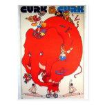 Cyrk Elephant Vintage Poster Postcard