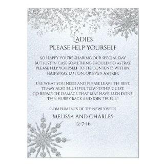 Cyrstal Snowflakes Wedding Basket Sign 17 Cm X 22 Cm Invitation Card