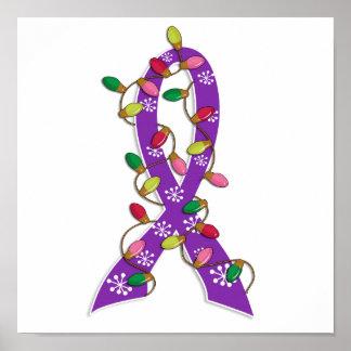 Cystic Fibrosis Christmas Lights Ribbon Posters