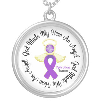 Cystic Fibrosis God Made My Hero An Angel Round Pendant Necklace