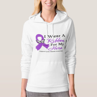 Cystic Fibrosis I Wear a Ribbon For My Hero Hooded Pullover