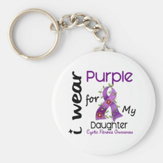Cystic Fibrosis I Wear Purple For My Daughter 43 Basic Round Button Key Ring