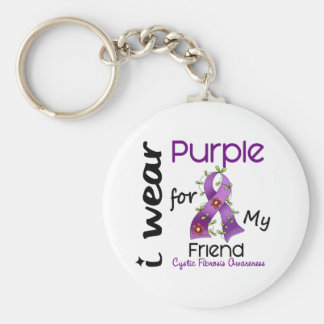 Cystic Fibrosis I Wear Purple For My Friend 43 Basic Round Button Key Ring