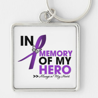 Cystic Fibrosis Tribute In Memory of My Hero Silver-Colored Square Key Ring