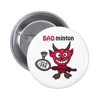 CZ- Devil Playing BADminton Cartoon 6 Cm Round Badge