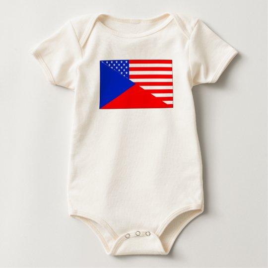 Czech American Flag Baby Bodysuit