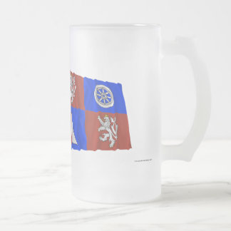 Czech and Liberec Waving Flags Frosted Glass Beer Mug