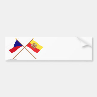 Czech and Prague Crossed Flags Bumper Stickers