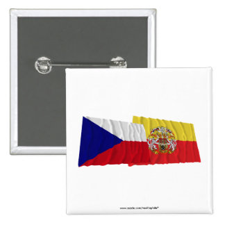 Czech and Prague Waving Flags 15 Cm Square Badge