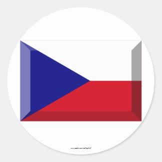 Czech Flag Jewel Classic Round Sticker