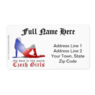 Czech Girl Silhouette Flag Shipping Label
