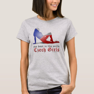 Czech Girl Silhouette Flag T-Shirt