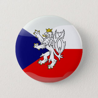 Czech glossy flag 6 cm round badge