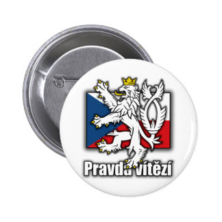 Czech Lion Coat of Arms Flag Pinback Button