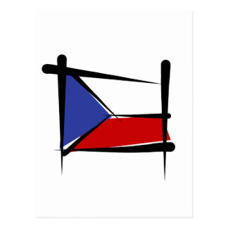 Czech Republic Brush Flag Postcard