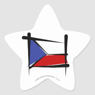 Czech Republic Brush Flag Star Sticker