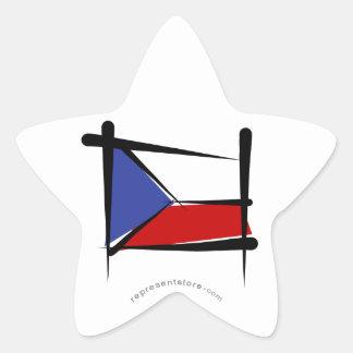 Czech Republic Brush Flag Star Sticker