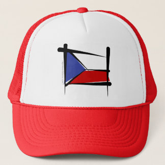 Czech Republic Brush Flag Trucker Hat