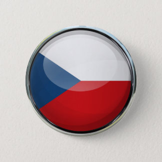 Czech Republic Flag Glass Ball 6 Cm Round Badge
