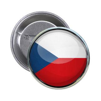 Czech Republic Flag Glass Ball Pinback Buttons