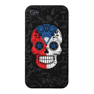 Czech Republic Flag Sugar Skull with Roses iPhone 4/4S Cases
