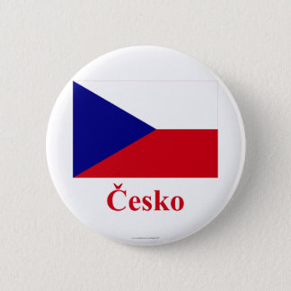 Czech Republic Flag with Name in Czech 6 Cm Round Badge
