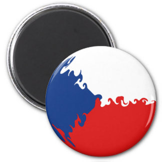 Czech Republic Gnarly Flag 6 Cm Round Magnet
