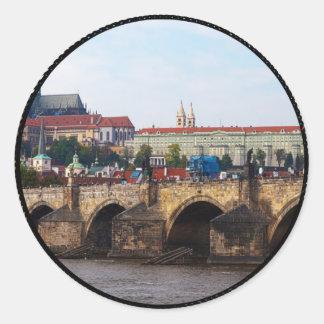 Czech Republic-Prague Castle and Charles Bridge Classic Round Sticker