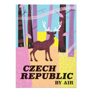 Czech Republic Vintage Deer Travel poster Photographic Print