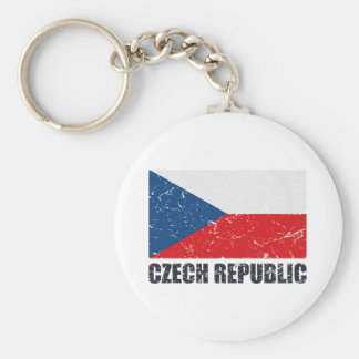 Czech Republic Vintage Flag Key Ring