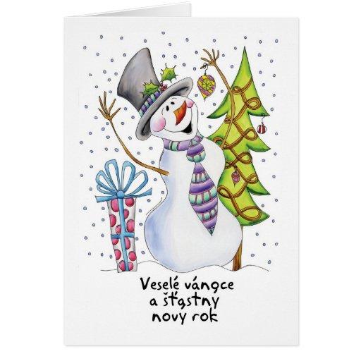 Czech - Snowman - Happy Snowman Christmas Card
