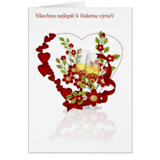 Czech Wedding Anniversary With Champagne flowers Card
