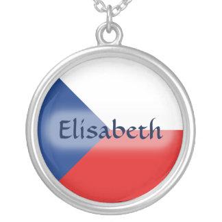 Czechia Flag + Name Necklace
