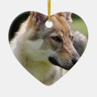 Czechoslovakian Wolfdog Ceramic Heart Decoration