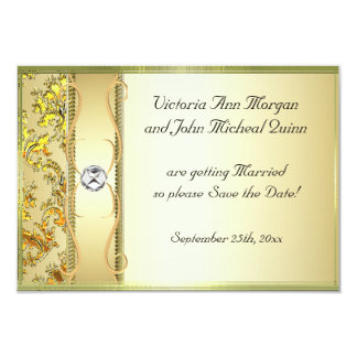 D1 Gold on Gold Damask Save the Date Card 9 Cm X 13 Cm Invitation Card