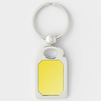 D1 Linear Gradient - Dark Yellow to Light Yellow Silver-Colored Rectangle Key Ring