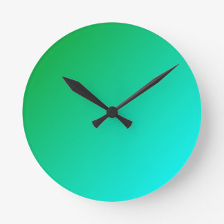 D1 Linear Gradient - Green to Cyan Round Clock