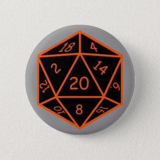 D20 Black & Orange 6 Cm Round Badge