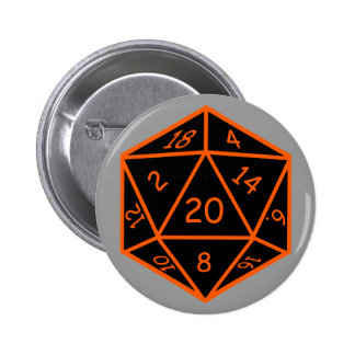D20 Black & Orange 6 Cm Round Badge